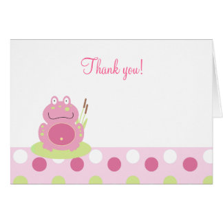 Fiona the Pink Frog Folded Thank you notes