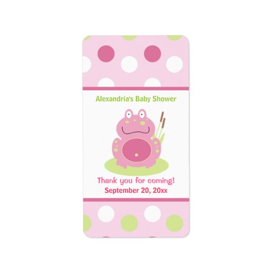 Fiona the Pink Frog Miniature Candy Wrappers Label