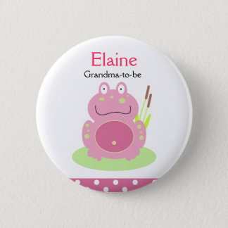 FIONA the PINK FROG NAME TAG Personalized Button
