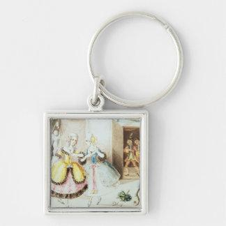 Fiordiligi and Dorabella Silver-Colored Square Keychain