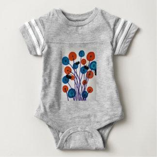 Fiore pulsante con le farfalle baby bodysuit