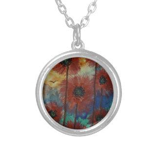 Fiori rossi al tramonto silver plated necklace