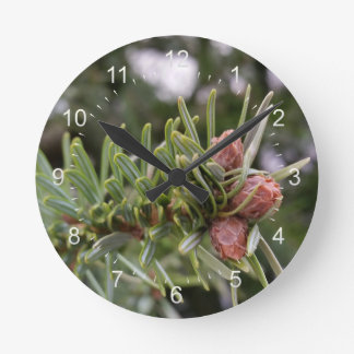 Fir buds round clock