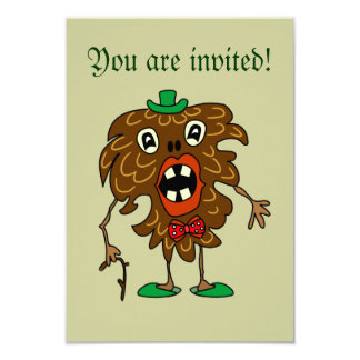 Fir-cone monster funny RSVP Invitation