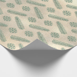 Fir Snowflakes Mint Green  Cottage Linen Faux Gold Wrapping Paper