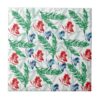 Fir Tree Branches with Berries Tile