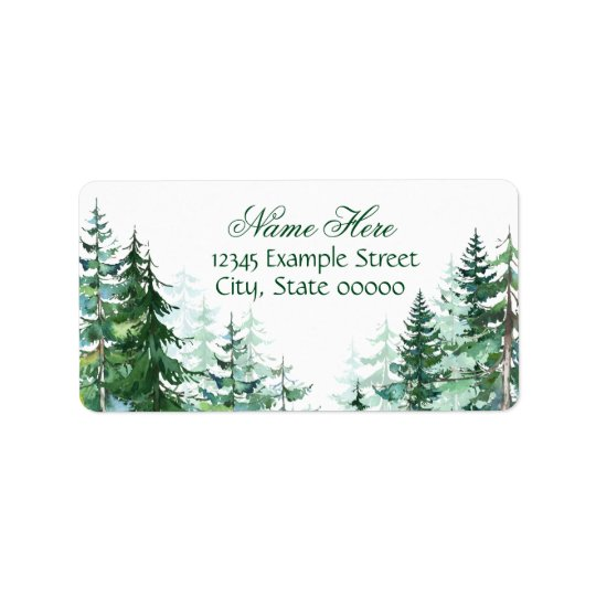 Fir Tree Return Address Label