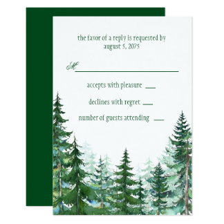 Fir Tree Wedding RSVP Card