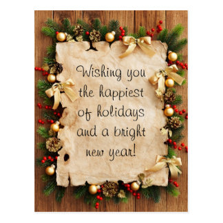 Fir tree with paper and holiday decorations postcard