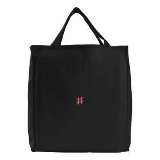 Fire #1 Number Sign Embroidered Tote Bags