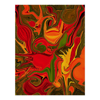 fire abstract art painting poster