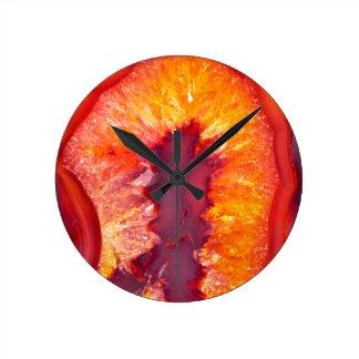 Fire Agate Round Clock
