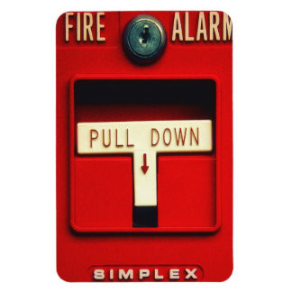 Fire alarm rectangular photo magnet