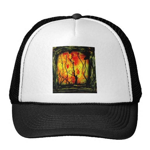 Fire and Burnt Trees Spray Paint Painting Mesh Hat
