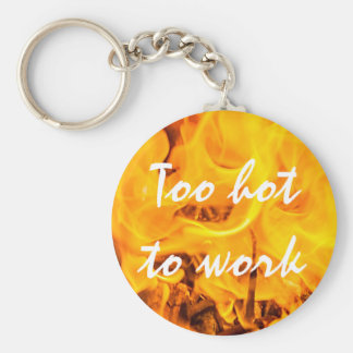 Fire and flames basic round button keychain