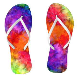 [Fire and Ice] Bright Bold Rainbow Tie-Dye Flip Flops