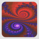 Fire and Ice Fractal Square Sticker