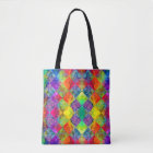 [Fire and Ice: Harlequin] Boho Gypsy Tie-Dye Tote Bag