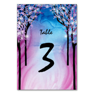Fire and Ice Purple Wedding Table Number Card Table Cards