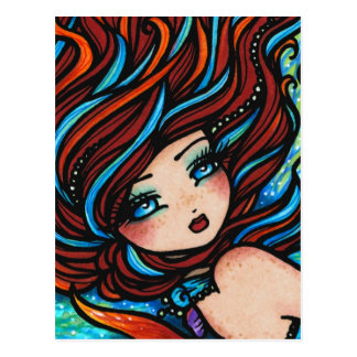 Fire and Ice Red Head Mermaid Underwater Fantasy Postcard