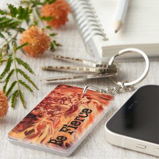 Fire and ice snow leopard key chain