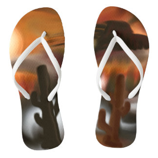 Fire and Ice Southwest Abstract Art Flip Flops
