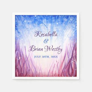 Fire and Ice Wedding | Blue and Red Watercolor Paper Napkin