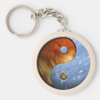 Fire and Ice Yin Yang Keychain