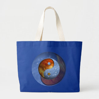 Fire and Ice Yin Yang Large Tote Bag