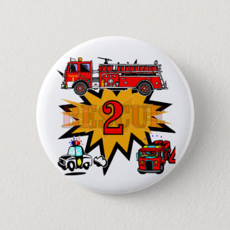 Fire and Rescue 2nd Birthday Tshirts and Gifts 2 Inch Round Button