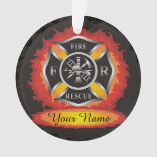 Fire and Rescue Flames Firefighter Ornament