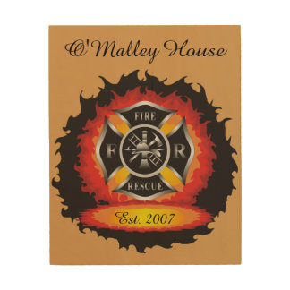 Fire and Rescue Flames Firefighter Wood Wall Art