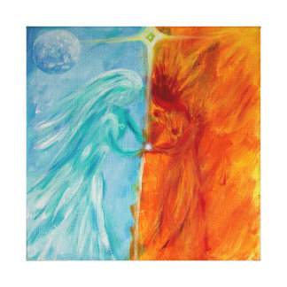 Fire and Water, Divine Masculine and Feminine Canvas Print