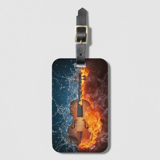 Fire and Water Violin Luggage Tag