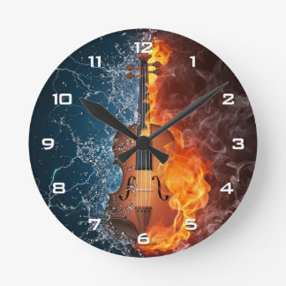 Fire and Water Violin Wall Clock