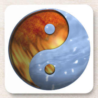 Fire and Water Yin and Yang Symbol Coaster