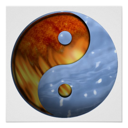Fire and Water Yin and Yang Symbol Poster