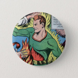 Fire-based Hero from Sure-Fire Comics! 2 Inch Round Button