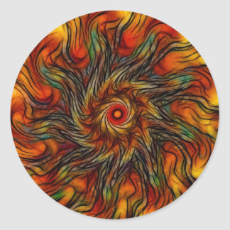 Fire Blossom (Sticker) Round Sticker