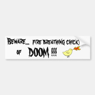 fire breathing chicken bumper sticker
