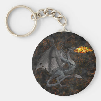 Fire-Breathing Dragon Basic Round Button Keychain