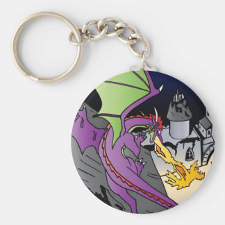 Fire Breathing Dragon Basic Round Button Keychain