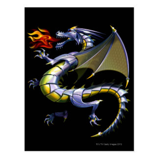 Fire-breathing dragon postcard