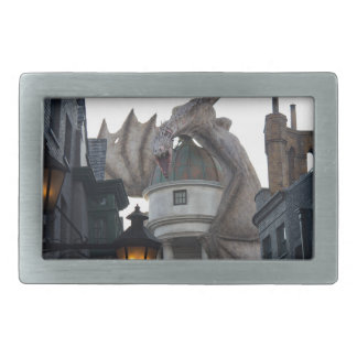 Fire breathing Dragon protecting wizard's bank Rectangular Belt Buckle