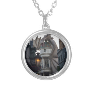 Fire breathing Dragon protecting wizard's bank Silver Plated Necklace