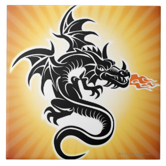 Fire breathing dragon tile