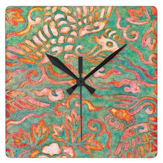 Fire-Breathing Southwest Desert Dragons Square Wall Clock