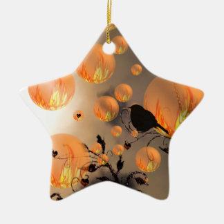 Fire Bubbles Star Ceramic Ornament
