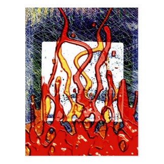 Fire Burn Smoke Abstract Metal Rusty Antique Junk Postcard