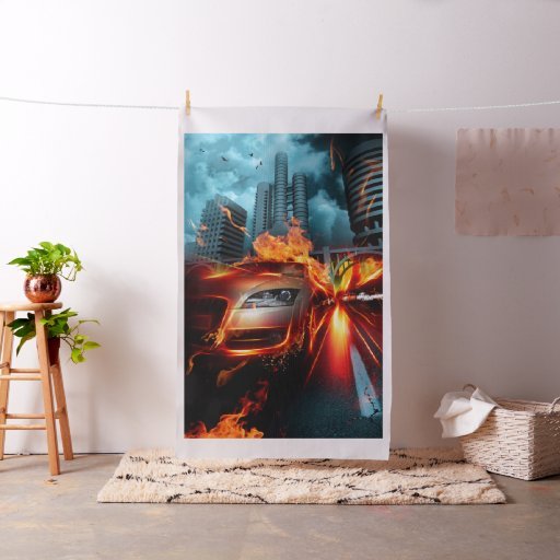 Fire Car Fantasy Tapestry Fabric